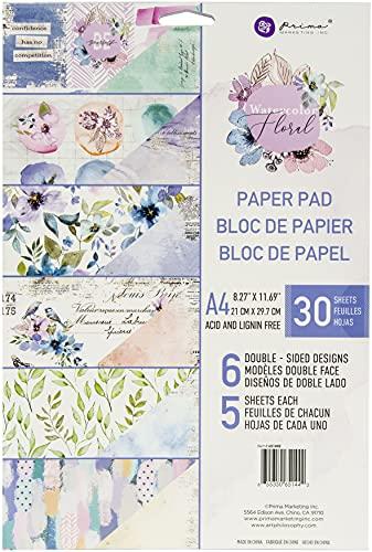Prima Marketing WATERCLR FLRL Paper A4 PAD, Watercolor Floral