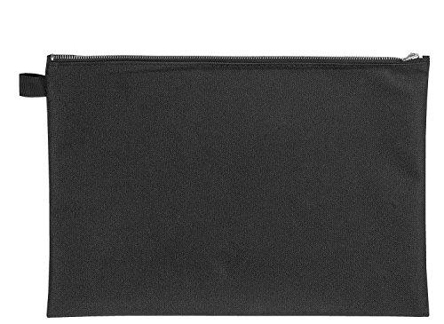 Veloflex 2724000 Banktasche A4, Transporttasche, Geldtasche, robustes Textil, Metallreißverschluss, schwarz