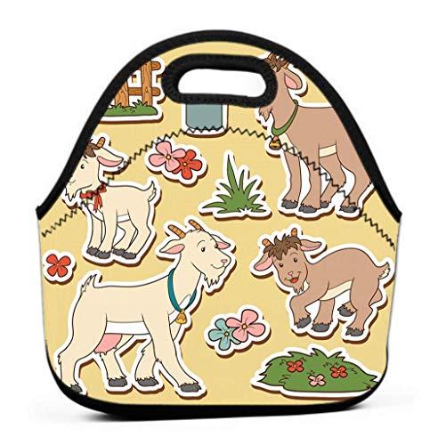 Lonchera con aislamiento, lonchera con aislamiento Conjunto de colores fríos Lindos animales de granja Objetos Familia Cabra Colorido