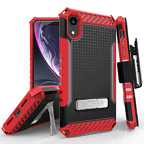 Beyond Cell Trishield Series Compatible With iPhone XR Case/ Military Grade Rugged Cover + [Metal Kickstand]+[Belt Clip Holster] Compatible With Apple iPhone XR 6.1 (2018)-Red