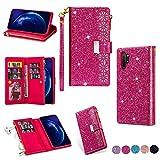 Miagon Reißverschluss Brieftasche Glitzer Hülle für Samsung Galaxy Note 10 Plus,Flip Handytasche mit 9 Kartenfächer Handschlaufe PU Leder Magnet Bling Multifunktions,Rose Rot