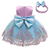 NSSMWTTC Flower Girl Dresses Wedding Baby Birthday Party Frocks Christmas Pageant Event Baptism Prom Dress(Purple+Blue,90)