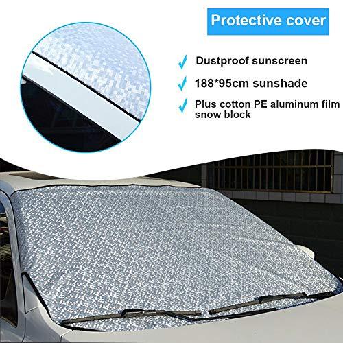 Bloque de nieve de película de aluminio, protección anticongelante para parabrisas de coche, 188 x 95 cm, Sun Block Plus algodón PE Block de nieve de película de aluminio PE Bloque antipolvo universal