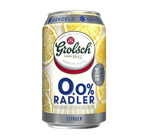 24 x Grolsch Radler 0% Citroen/Zitrone (24 x 0,33L Einweg-Dosen) Alkoholfrei- inkl. gratis FiveStar Kugelschreiber