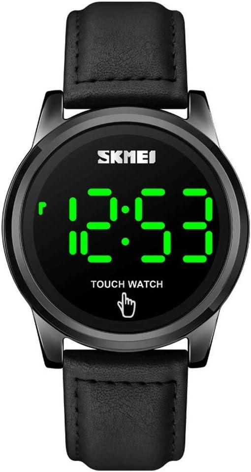 Reloj de cuero simple con pantalla táctil de moda para hombres, LED digital multifunción, 30M Reloj de pulsera deportivo impermeable al aire libre, Bandas de reloj de ocio de negocios para hombres
