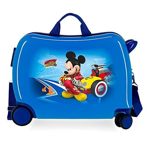 Disney Lets Roll Mickey Maleta Infantil Azul 50x49x20 cms Rígida ABS Cierre de combinación Lateral 39L 3 kgs 4 Equipaje de Mano