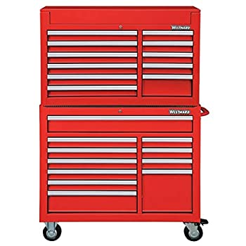 Westward 42 W Tool Chest and Cabinet Combination 22 Drawers Red 60-1/2 H