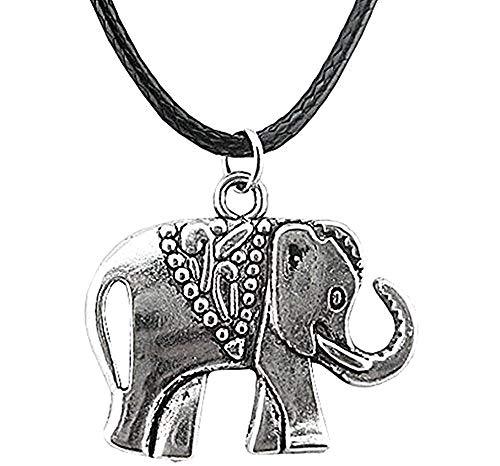 Legisdream Schwarz-Seil-Halskette Anhänger Elefant-Inder-Porta Fortuna Silber Schmuck-Geschenk-Ideen Festival Unisex