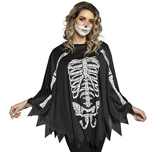 Boland 79184 Poncho Skelett, Schwarz/Weiß