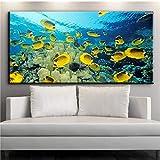 Coudros Decoración del hogar Impreso en lienzo Arte de la pared Goldfish Caligrafía china Koi Fish Bamboo Picture para la sala de estar 60 * 120cm