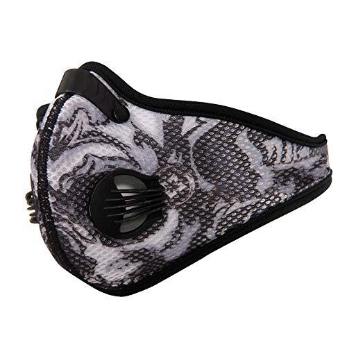 XCBW Respirador con máscara contra el Polvo, mascarilla Deportiva antipolución al Aire Libre, con Filtro de carbón Activado, Protege contra el Polvo, Gases de Escape, alergia al Polen,Gray
