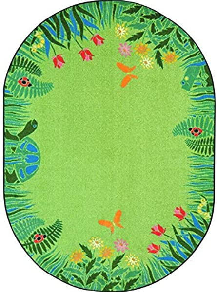 Joy Carpets 1961CC 02 5 Ft 4 In X 7 Ft 8 In Merry Meadows Green Class Room Rug