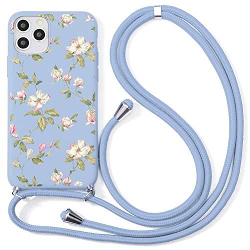 ZhuoFan Funda con Cuerda para iPhone 6 Plus / 6S Plus Carcasa Púrpura Silicona Dibujos Case con Colgante Ajustable Collar Correa de Cuello Cadena Cordón para iPhone 6S / 6 Plus Cuerda 5,5' - Flor