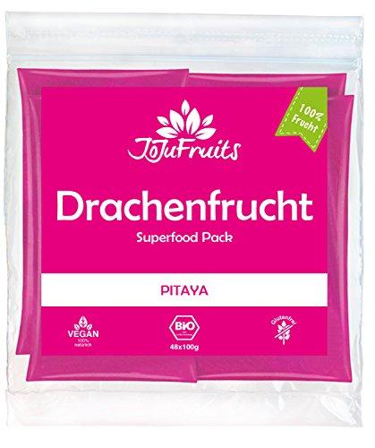 JoJu Fruits - Bio Drachenfrucht Püree - 48 Smoothie Packs - Superfood aus Pitaya