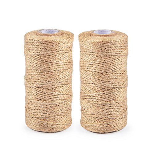 2 Packs 310 Feet Each.Nature Jute Twine, Best Arts and Crafts Jute Rope Industrial Packing Materials Packing String for Gifts,Bundling,DIY Crafts,Festive Decoration and Gardening Applications
