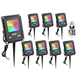 GLW 12V Landscape Lights 10W Low Voltage RGB Outdoor Spotlights IP65 Waterproof Color Changing Outdoor LED Flood Light,Dimmable Wall Washer Light, Flood Lamp 16 Colors 4 Modes (8 Pack)