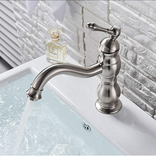 Waterkraan geborsteld nikkel-badkamer-bassin badkraan platform eenhandsdraaiende tule wastafelkranen antieke beha-bekkenmengkraan