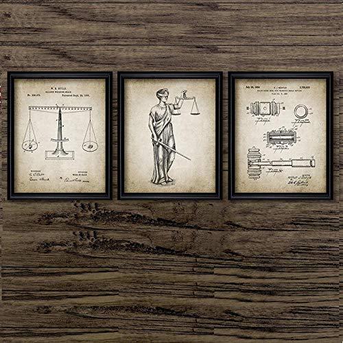Non-branded artaslf Schwarz-Weiß-Anwalt Lady Justice Law Leinwand Gemälde Waage der Justiz Anwaltskanzlei Wanddekor Struktur Bilder- 50x70cmx3 ungerahmt