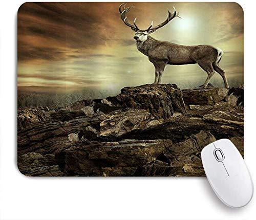 Benutzerdefiniertes Büro Mauspad,Hirsch in der wilden Natur Hirsch, der auf Felsen im Winterlandschafts-Foto-Kunstwerk steht,Anti-slip Rubber Base Gaming Mouse Pad Mat