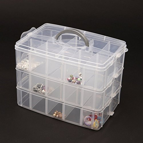 Gadgetbucket 3-Tray Transparent Plastic Organizer Storage Box Basket Container with Collapsible and Removable Dividers 31X19X24Cm