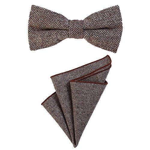 DonDon Herren Fliege 12 x 6 cm mit farblich passendem Einstecktuch 23 x 23 cm beides aus Baumwolle im Tweed Look braun kariert