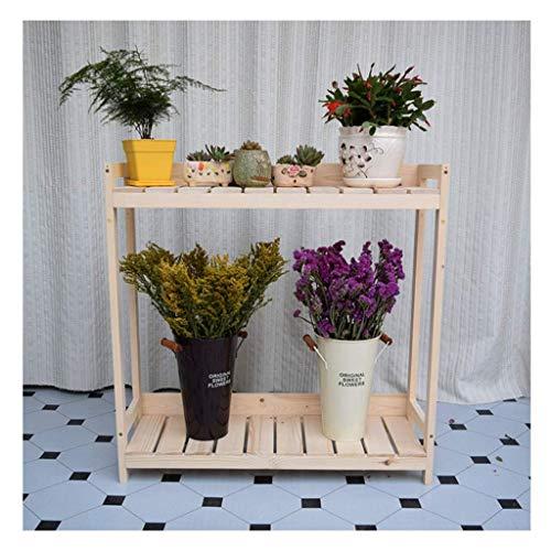 Stand de la casa Balcón Plant, Flower Stand estante del pote de flor del estante del sostenedor del zapato estante de madera Doble Layerssembly Balcón Sala de estar decoración vegetal de estantería KA