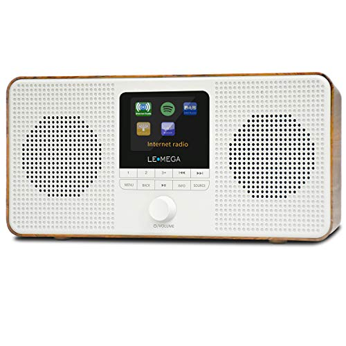 LEMEGA IR4 Tragbares Stereo-Internetradio, DAB/DAB + / FM-Digitalradio, WiFi, Spotify, Bluetooth-Lautsprecher, Doppelalarm, 60 Voreinstellungen, Kopfhörerausgang, Akku (Nussbaum)