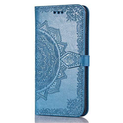 3C Collection Fundas Samsung S10 Tapa de Falsa Piel Mandala Azul, Fundas Samsung S10 Libro Iman con Tarjetero, Grabado Flores de Funda para Samsung Galaxy S10 Antigolpes Mujer