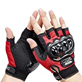 AutoKraftZ Half Cut Finger Motorcycle Riding Gloves/Racing Gloves (Large, Red) (Set of 1)