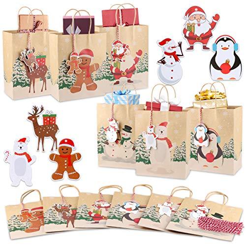 24 Stück Weihnachtsgeschenk Taschen, Großvolumige Geschenktüten, Exquisite Papiertüte mit Griff, Kraftpapier-Bonbontüte mit 24 Weihnachtsetiketten und 24 Roten Seilen, Weihnachtsfeierdekoration