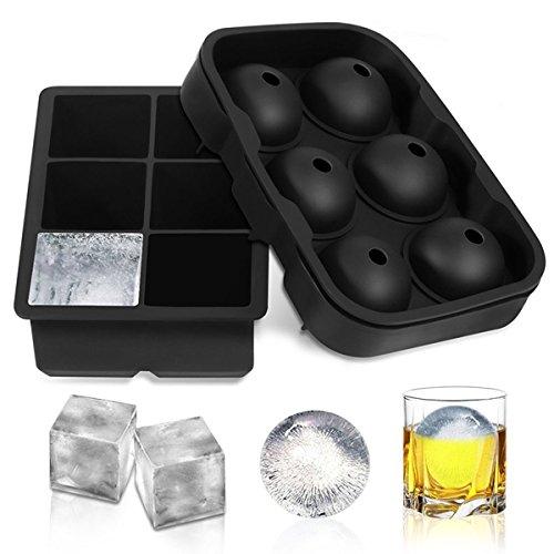 Tangchu cubetti di ghiaccio in silicone, Sphere Ice Ball Maker con coperchio e grande piazza stampi per whiskey cocktail bibite, riutilizzabile, senza BPA ,12cubetti (set da 2), nero