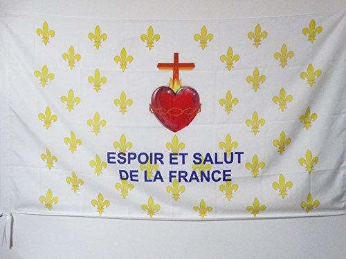 AZ FLAG Drapeau Fleur de Lys Or ESF 150x90cm - Drapeau royaliste Espoir et Salut de la France 90 x 150 cm Fourreau pour hampe
