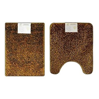 Verxii Home Memory Foam Bath Mat Rug Set For Bathroom | Luxury No-Slip Soft Shaggy Bath Floor Mat Set | Multiple Choice (2-PCS Combo A, Bright Gold))