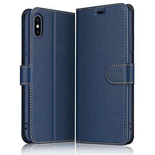 ELESNOW Hülle für iPhone X/XS, Premium Leder Flip Wallet Schutzhülle Tasche Handyhülle für iPhone X/XS (Blau)