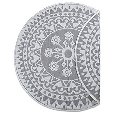 DII Contemporary Indoor/Outdoor Lightweight Reversible Fade Resistant Area Rug, Great for Patio, Deck, Backyard, Picnic, Beach, Camping, BBQ, 5' Round, Gray Floral