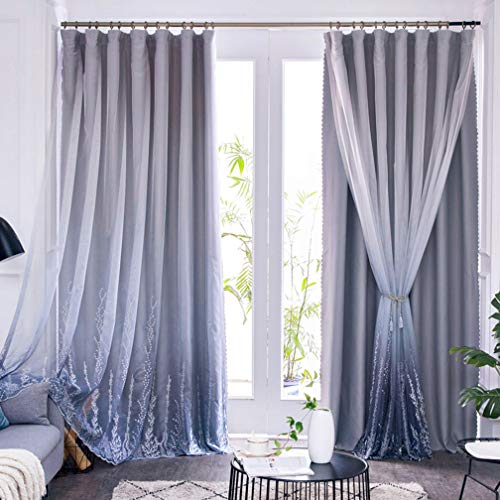 Blackout Curtains White Sheer Tulle Panel Gray Pencil Pleat Lined Curtains Solid Panels Thermal Insulated Drapes Kids Curtains for Boys Girls Bedroom Overlay Double Layer Curtains 1 pcs