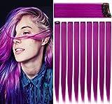 Rhyme 9 PCS 21 'Extensiones de cabello de color liso Clip In / On Extensiones de cabello morado Peluca Party Highlight MultiColors Piezas de cabello para mujeres / niñas (morado)