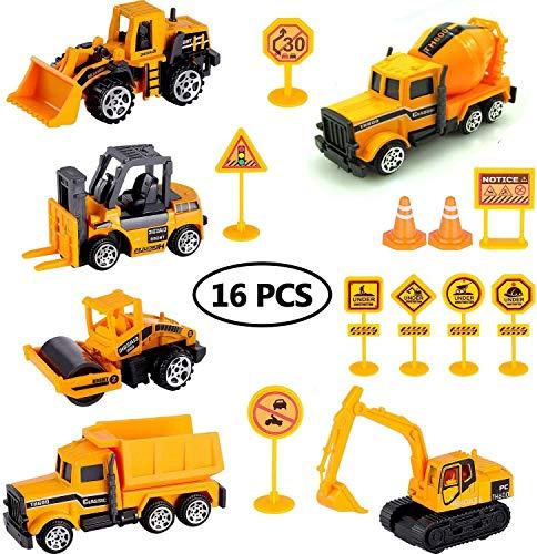 Swonuk 16Pcs Construction Vehicles Set, Construction Site Trucks Toddlers Boys Small Kid Toys Mini Car Toys Set Excavator Digger Trucks