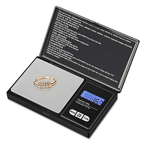 Zorara Präzisionswaage, Küchenwaage, 500 g/0,01 g, Taschenwaage mit empfindlichem LCD-Display, kleine Schmuckwaage aus Edelstahl Schwarz