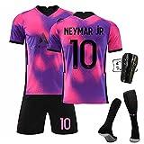 Camiseta De Fútbol Paris Away, 7#10#11#Camisetas Fútbol Rosa Morado Camiseta Pantalón Calcetín Espinilleras,Entrenamiento Deportivo para Adultos Y...