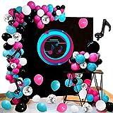 Kit de arco de guirnalda de globos de música, 108 globos de látex de color rosa, rojo, azul, negro y blanco, globos de confeti plateados, herramienta para atar globos de papel de nota musical