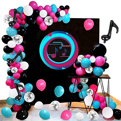 Music Themed Birthday Decoration Balloons Garland Arch Kit, 108 Rose Red Blue Black White Latex Balloons Silver Confetti Balloons Music Note Foil Balloons Tying Tool for Birthday Party Supplies