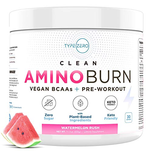 AminoBurn - Natural Pre Workout + Vegan BCAA (Watermelon | 30serv) Sugar Free BCAAs Amino Acids Supplement + Keto Preworkout for Women Weight Loss, Amino Preworkout Energy, Post Workout Recovery Drink