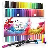 HELESIN Filzstifte, Brush Pen Set, 36 Farben Pinselstifte