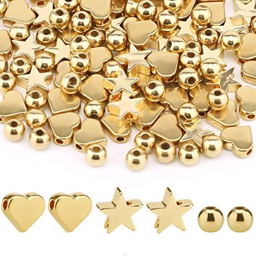 SAVITA 150 piezas Perlas de Espaciador en oro, Abalorios de Corazón en Forma de Estrella, Cuentas...