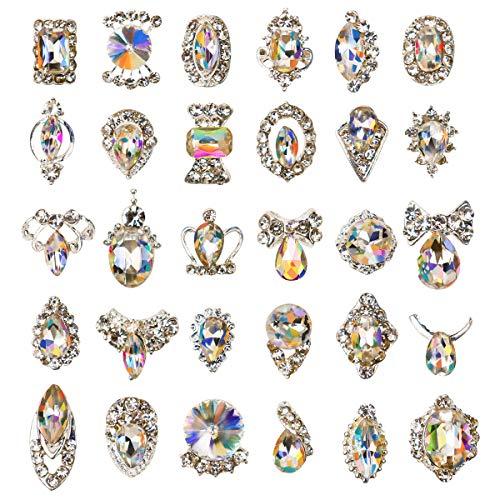30pcs Rhinestones for Nails, Nail Diamonds Glass Crystal AB Metal Gems Jewels Stones for 3D Nails Art Decoration