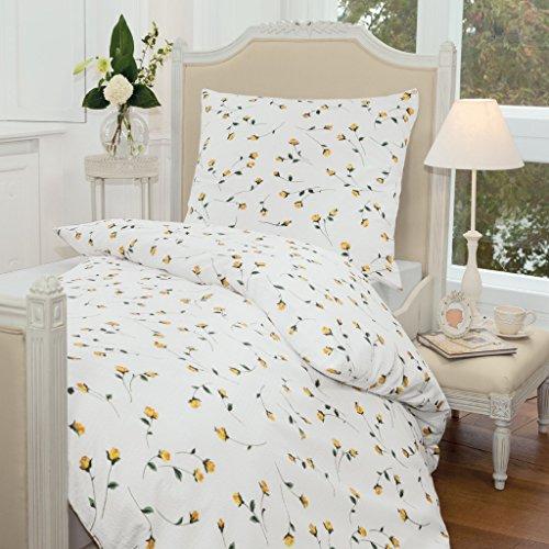 JANINE Tango 2174 Fb 03 - Biancheria da letto in cotone makò, 2 pezzi, 155 x 220 + 80 x 80 cm, colore: Giallo