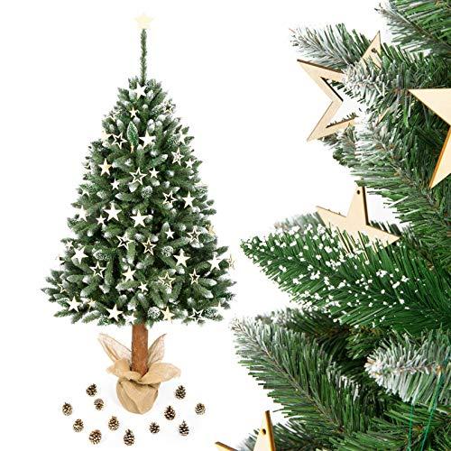 Verdone Diamant Tannenbaum mit Kristallelementen im Topf mit Naturstamm Weihnachtsbaum (160 cm)