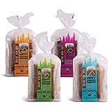 Happy Campers Variety Pack Gluten Free Bread, White Whole Grain, Cinnamon Raisin, Buckwheat Molasses, Hemp Multi-Seed, Non-GMO, Vegan, Organic, 11-17.4 Oz Loaves (Pack of 4)