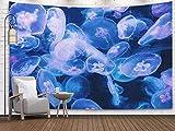 N\A Tapices de Arte, Tapiz de Pared Colgante para D & Eacute; Cor Sala de Estar Dormitorio Fondo de Medusas Entre Agua Oscura en Acuario de Tanque de Vidrio